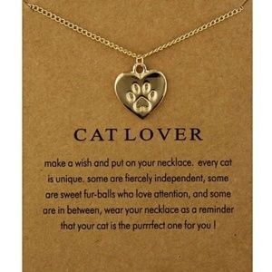 Jewelry - 5 for $25 Paw Print Gold Color Heart Necklace